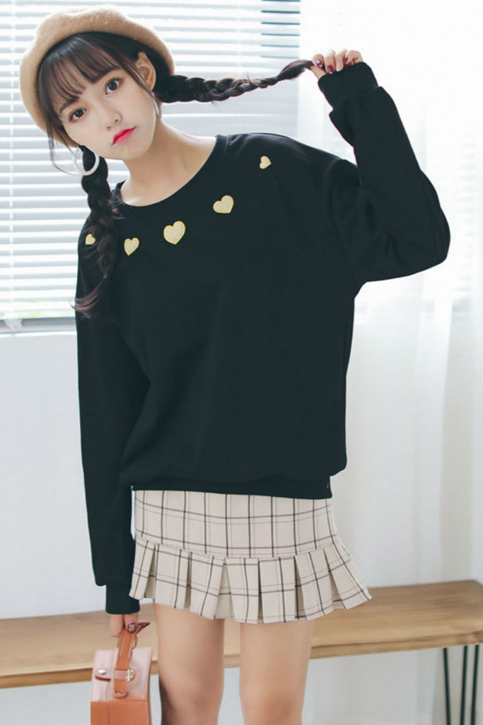 Heart Embroidery Sweatshirt Black