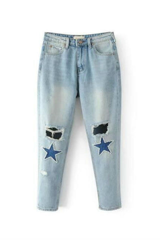 Pearl Star Pattern Ripped Jeans