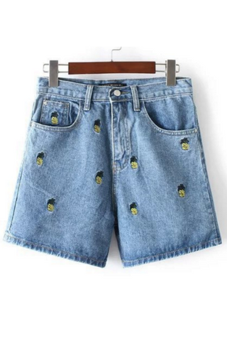 Pineapple Embroidered Denim Shorts