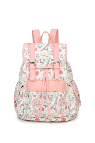 Pastel Pink Prints Backpack