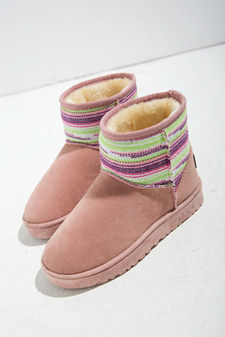 Pink Ethnic Snow Boots
