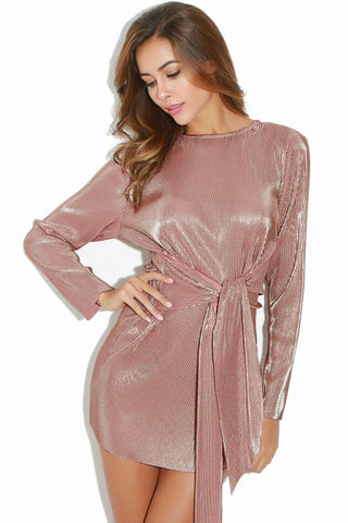 Metallic Pink Long Sleeve Dress