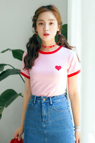 Pink Heart Embroidered T-shirt