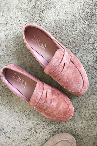 Pink Suede Leather Loafers