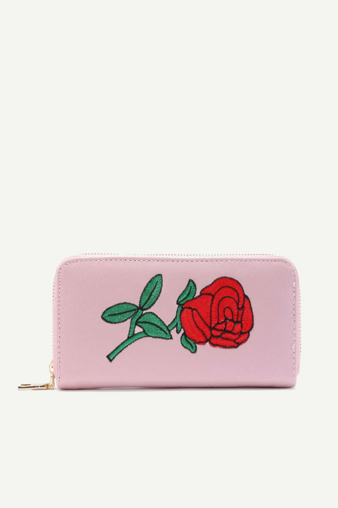 Rose Embroidery  Wallet In Pink