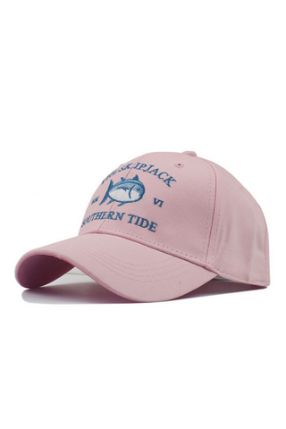 Pink Shark Embroidered Baseball Hat
