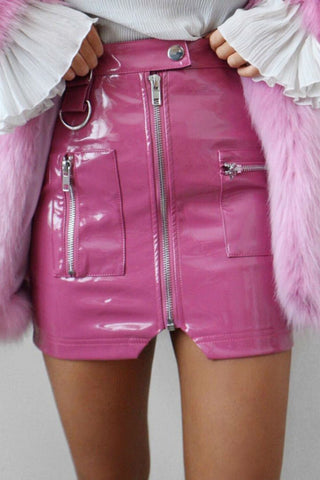 Patent Leather Zip Skirt