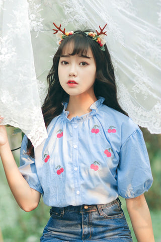Blue Cherry Short Sleeve Shirt