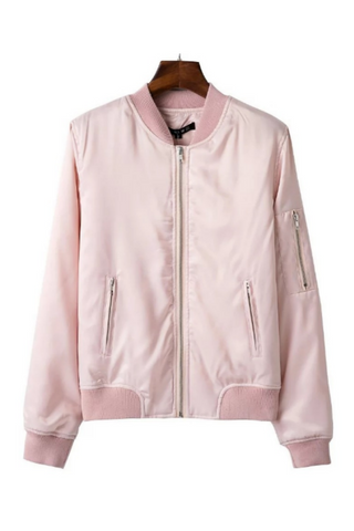 Pink Zipper Bomber Jacket