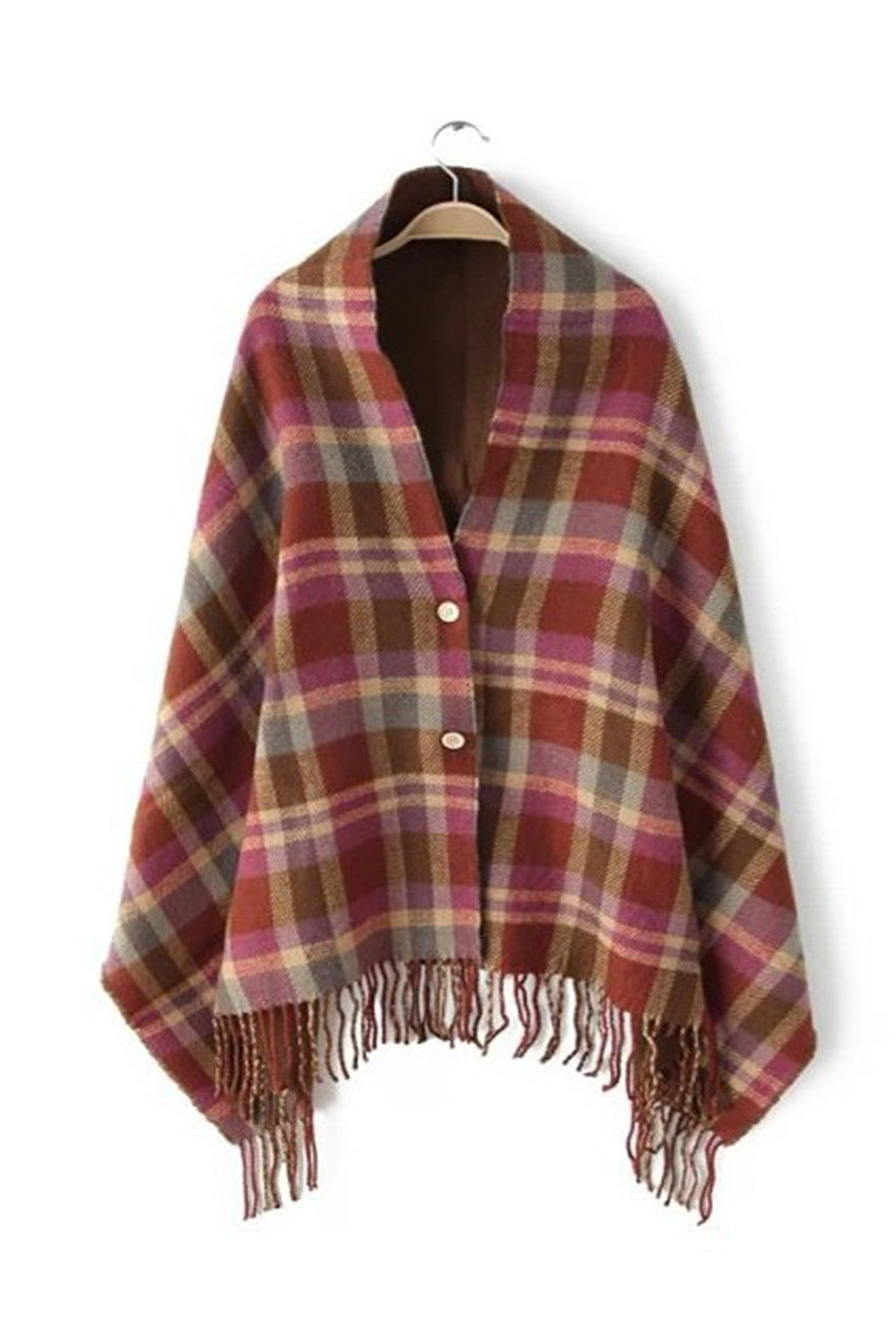 Burgundy Buttons Up Plaid Scarf