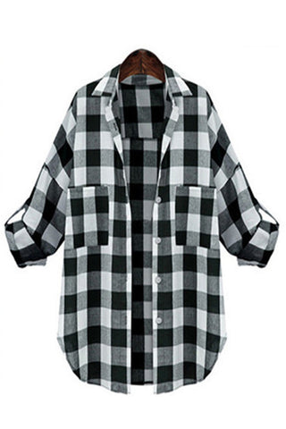 Vinatge Style Loose Fit Plaid Shirt