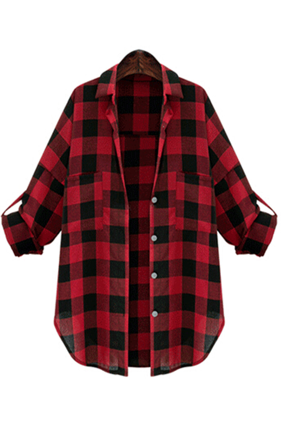 Red Plaid Loose Fit  Shirt