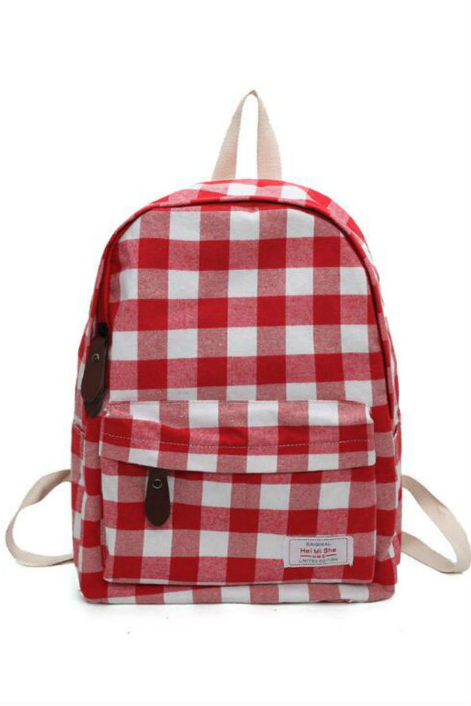 Retro Plaid Canvas Backpack