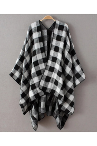 Black White Plaid Poncho Scarf