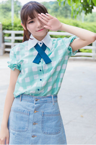 Lolita Plaid Short Sleeve Shirt