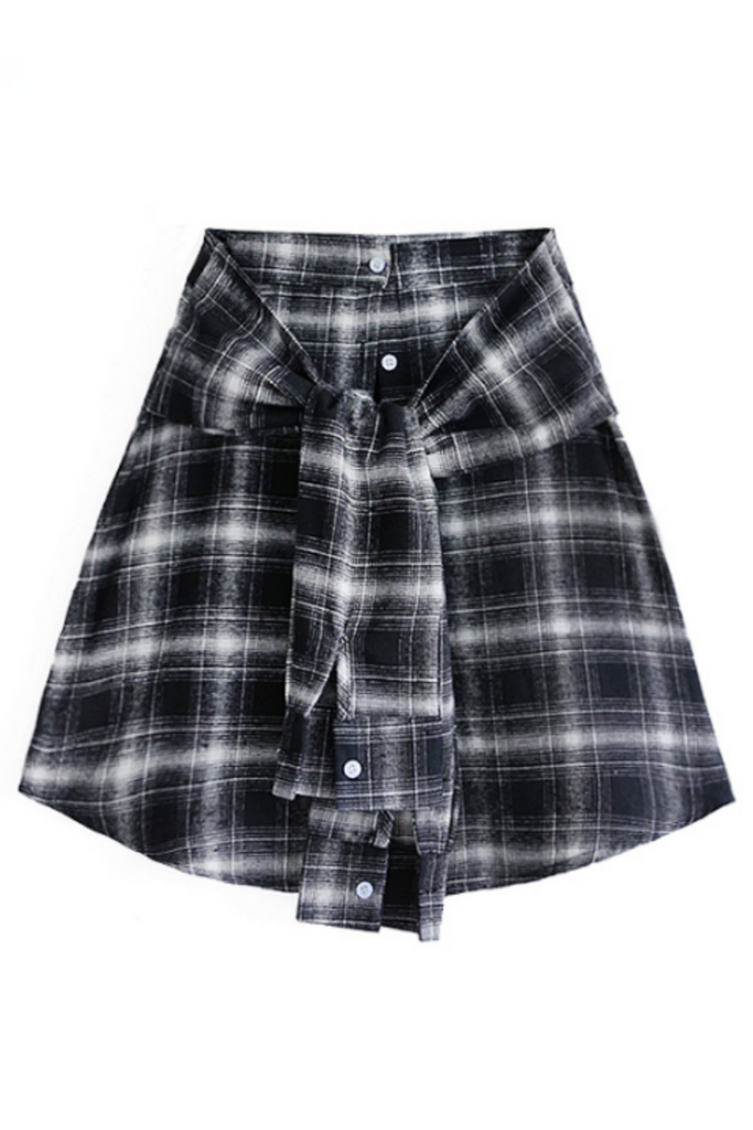 Tartan Plaid Tie Front Skirt
