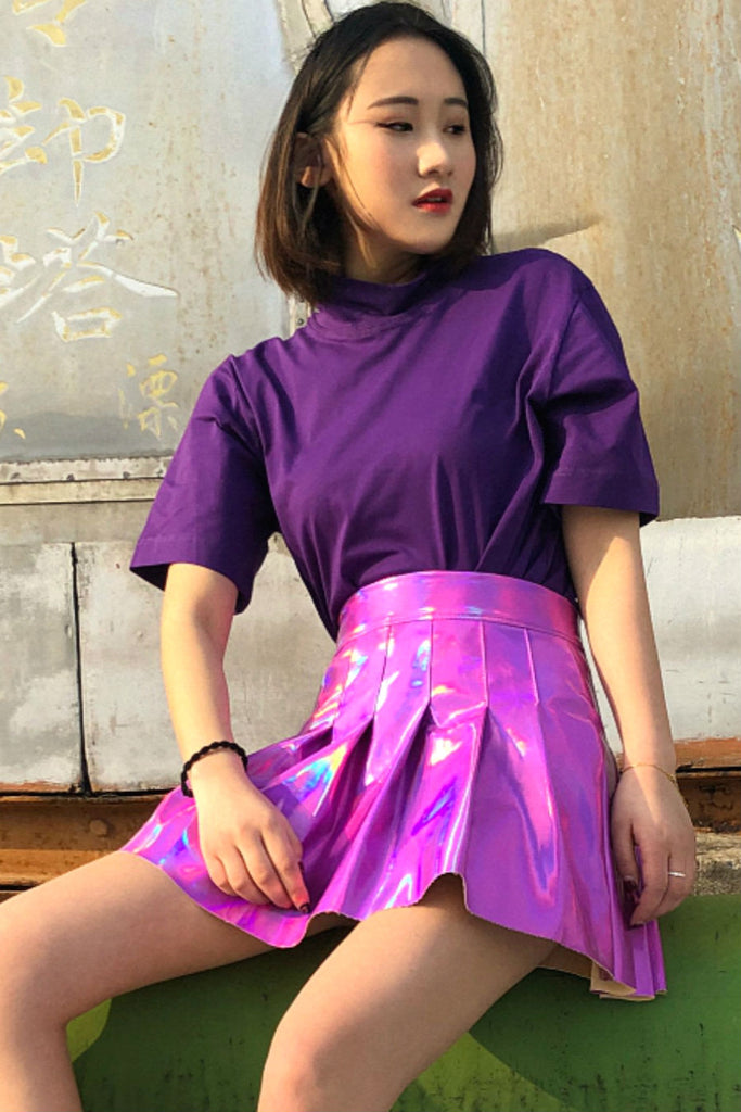 Purple Hologram Pleated Skirt