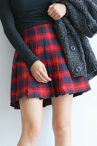 Red Plaid Pleated Skirt