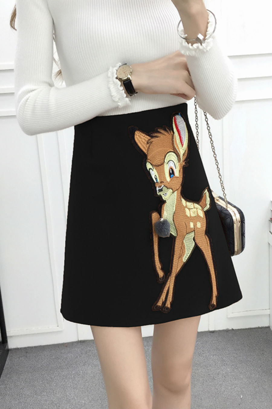 Cute Black Deer Woolen Skirt