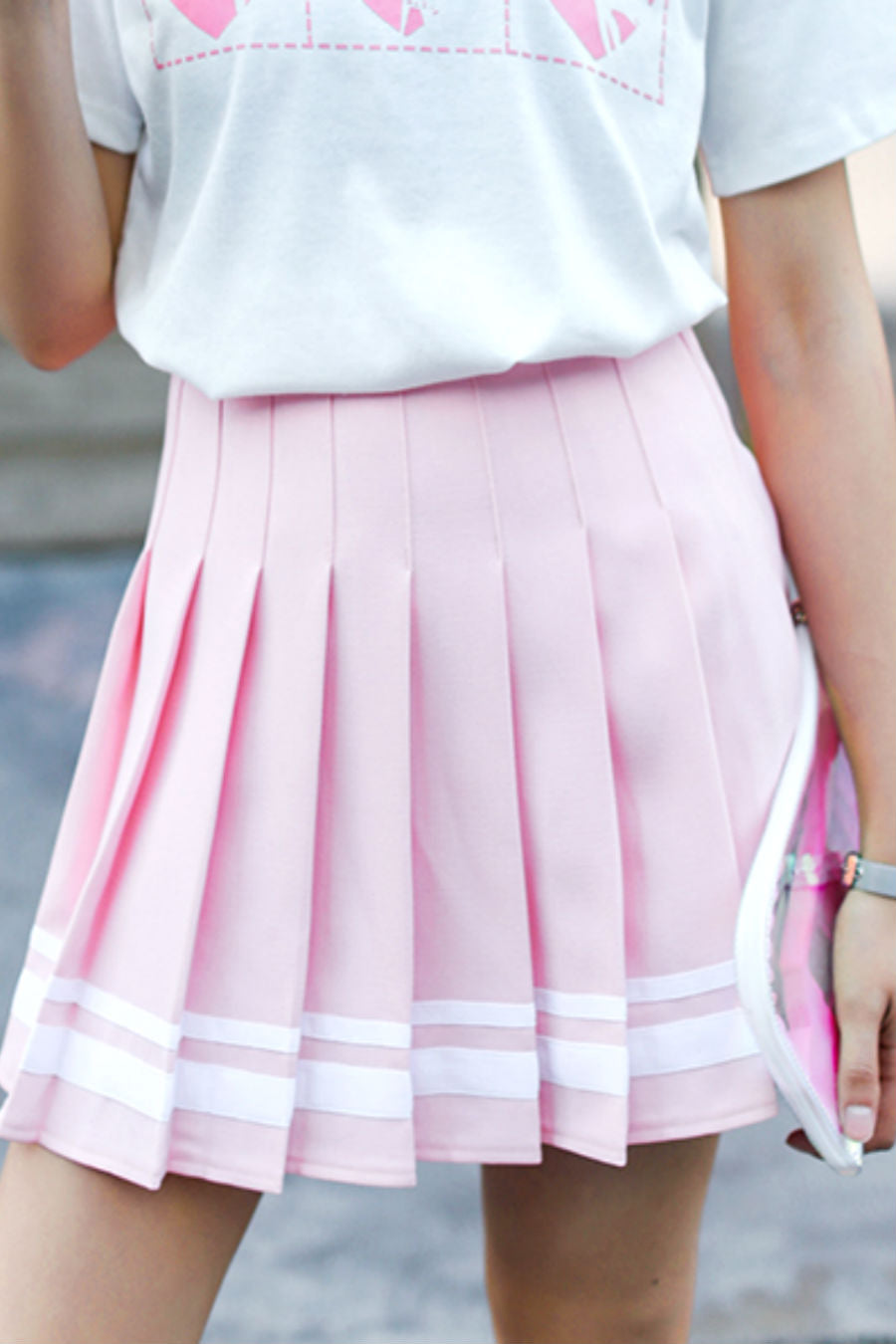 High-waist Striped Pleated Skirt