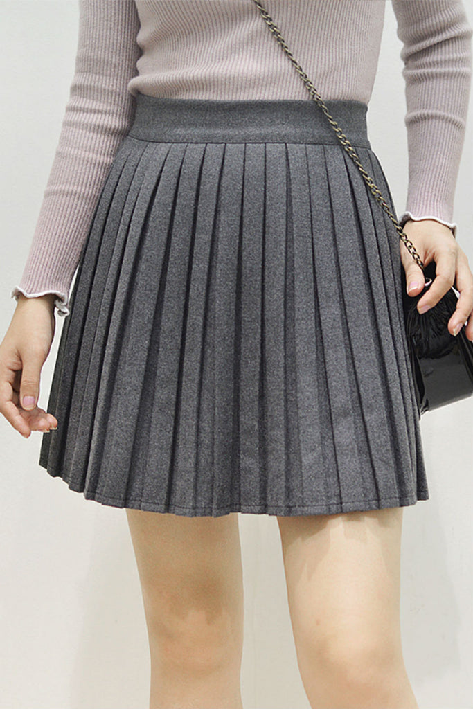 Woolen Pleated Skirt