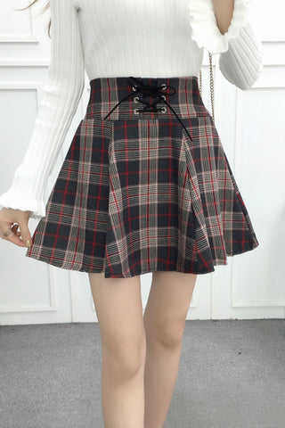 Red Tartan High Waist Skirt