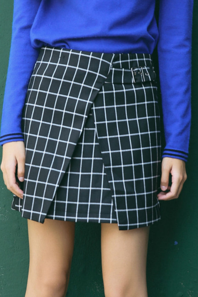 Split Side Plaid Skirt