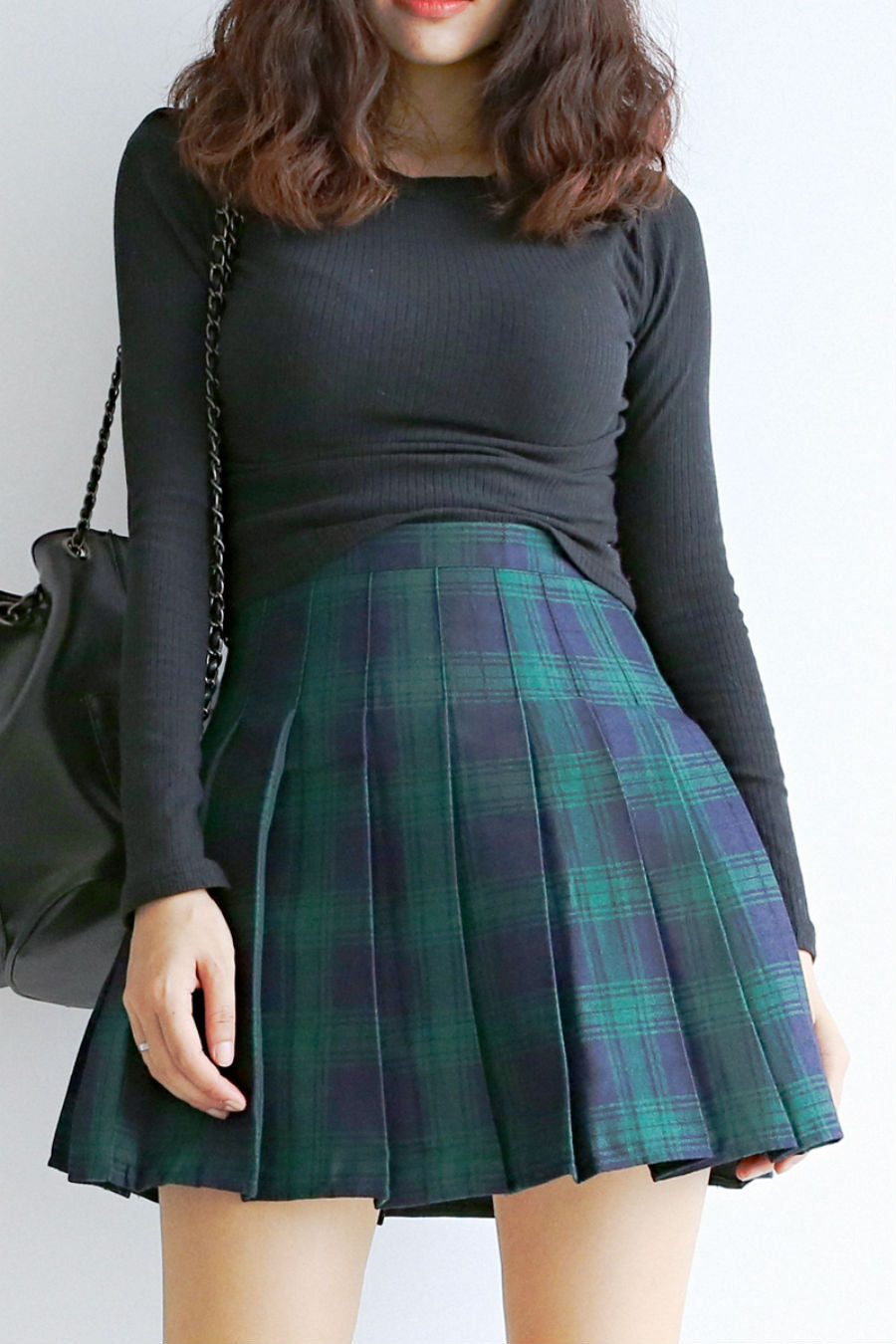 09c6aabe0 Green Plaid Pleated Skirt. Tap to expand