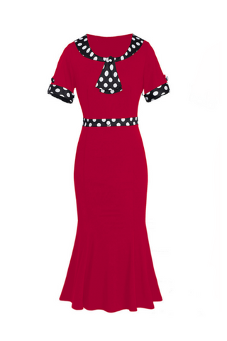 Vintage Dots Bow Fishtail Dress In Red