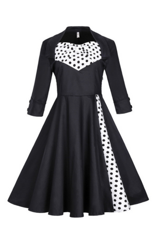 Vintage Polka Dots Printed Dress In Black