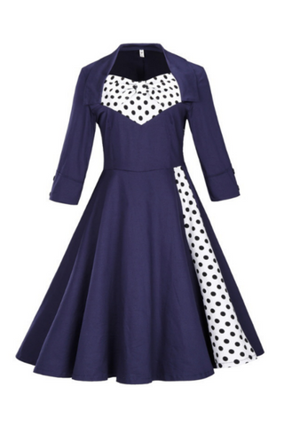 Vintage Polka Dots Printed Dress In Navy