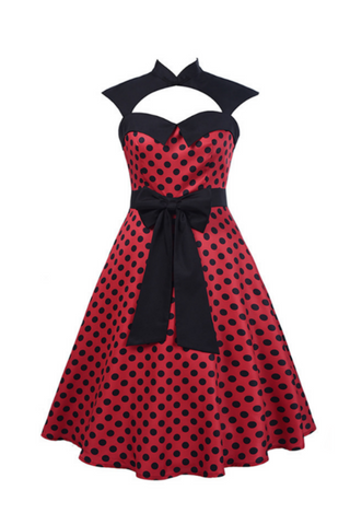 '50s Style Polka Dots Printed Dress In Red