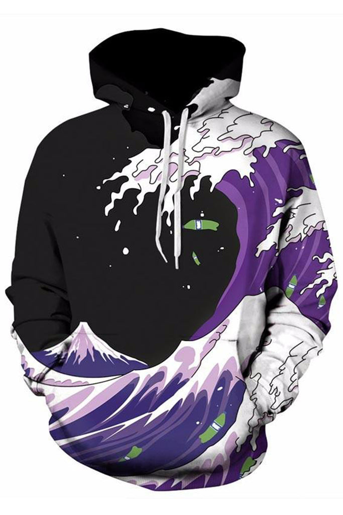 Inked Waves 3D Hooded Sweater