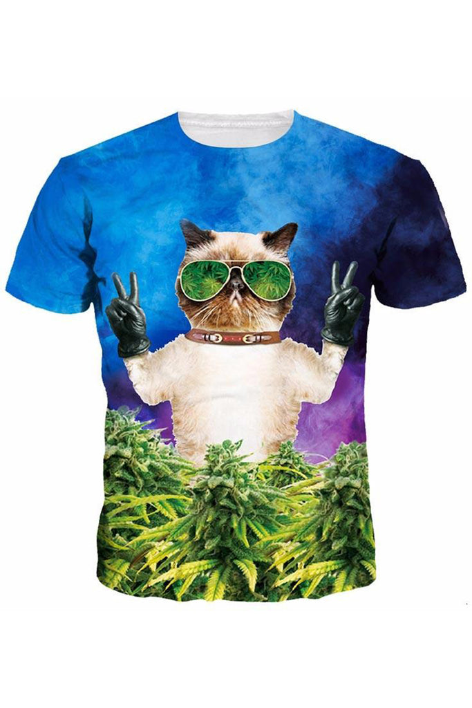 Cat With Weed 3D Printed T-shirt