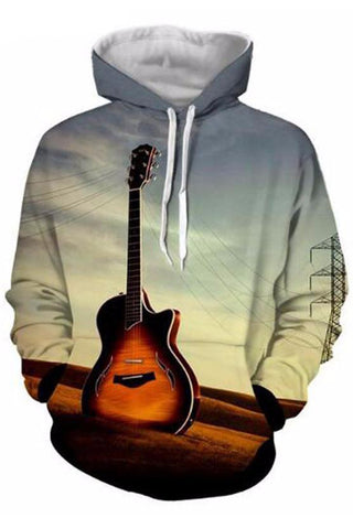 Printed Guitar 3D Hooded Sweater