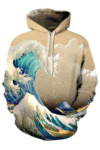 Space Waves 3D Hooded Sweater