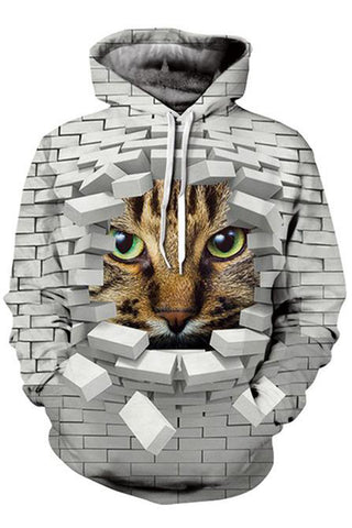 A Cat In The Wall 3D Hoodie