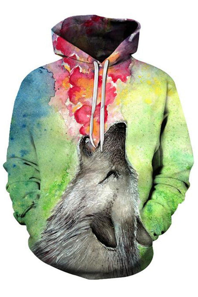 Wolf Smoking Colours 3D Hoodie