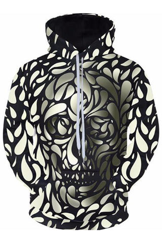 Skull In The Leaves 3D Hoodie