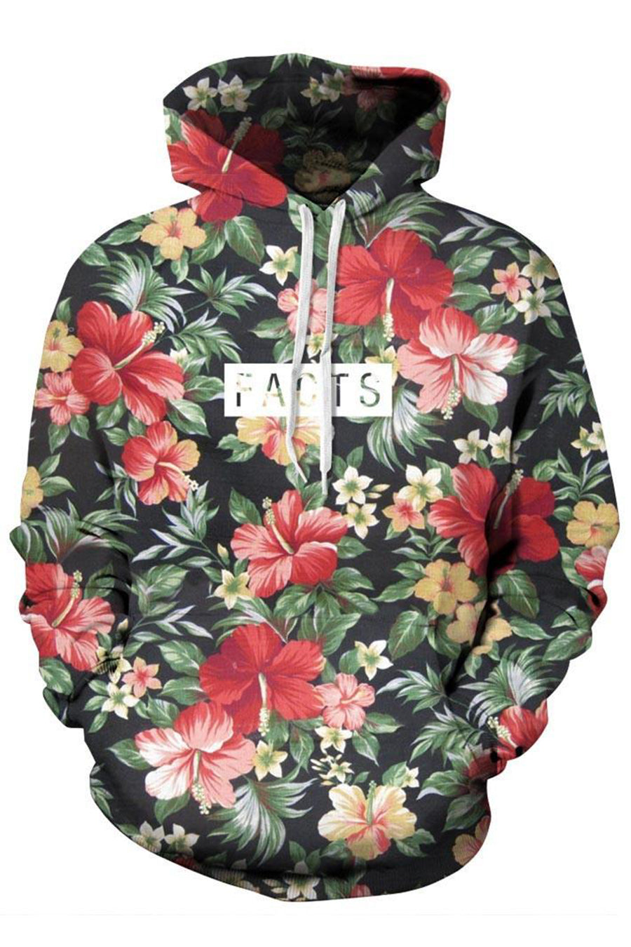 Floral Printed 3D Hooded Sweater