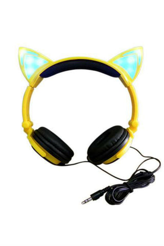 Cat Ear Headphones In Yellow