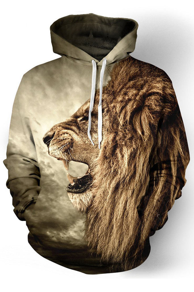 Lion Print 3D Hooded Sweater
