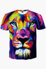 Multicolor Lion 3D Printed T-shirt