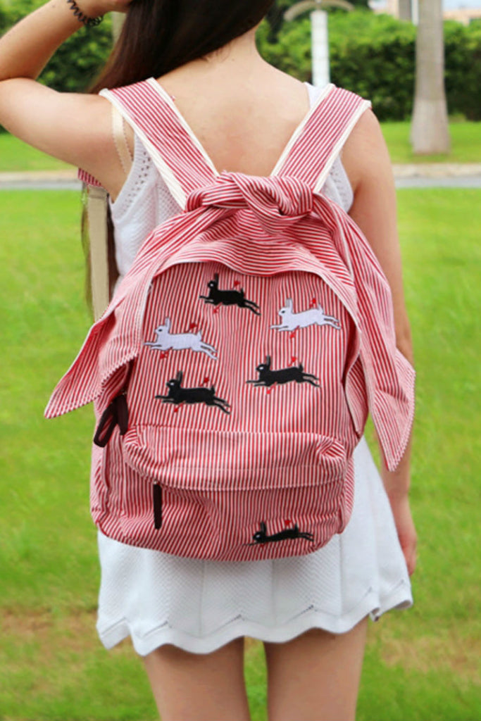 Kawaii Rabbit Stripe Backpack