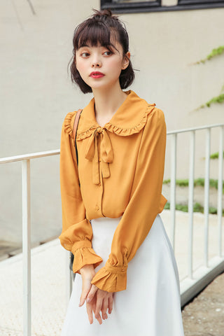 Doll Collar Yellow Blouse