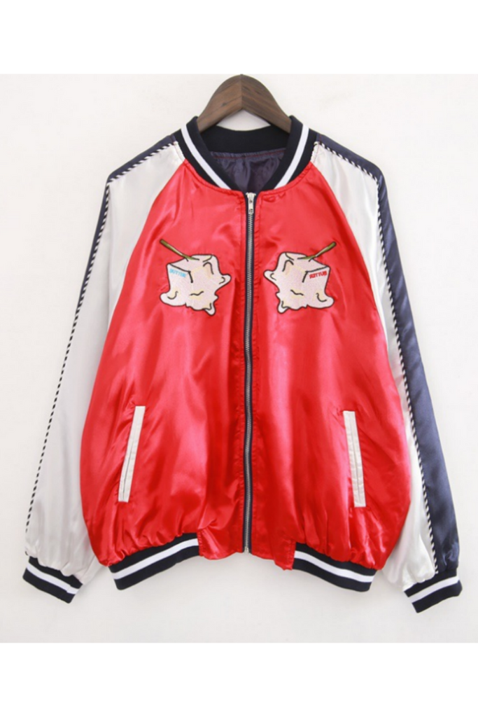Harajuku Red Embroidery Jacket