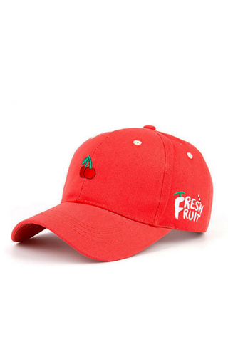 Red Cherry Embroidered Baseball Hat