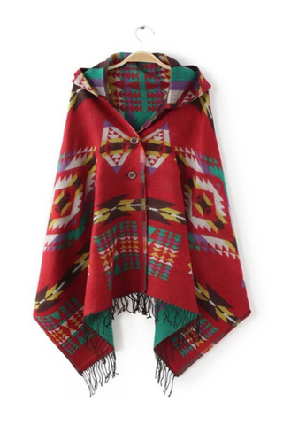 Red Ethnic Pattern Tassel Hooded Scarf