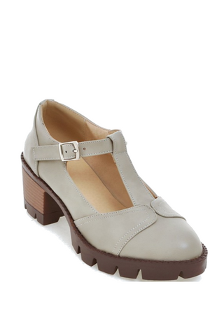 Vintage T-strap Heeled Shoes In Gray