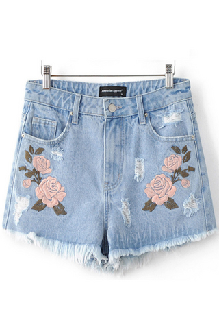 Flower Embroidered Denim Shorts